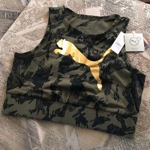 Puma | ArmyGreen & BlackLace Crop Top Bralette SzL